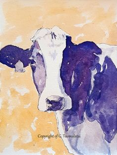 Watercolor Cow Painting