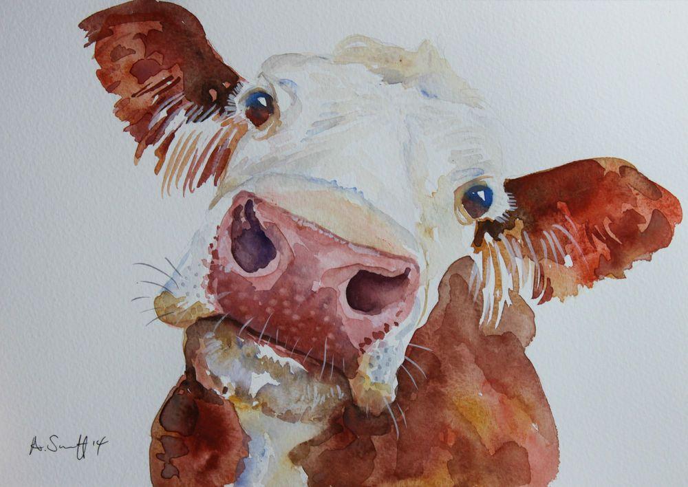 1000x708 Unique Original Brown Cow Cattle Farm Watercolour Painting