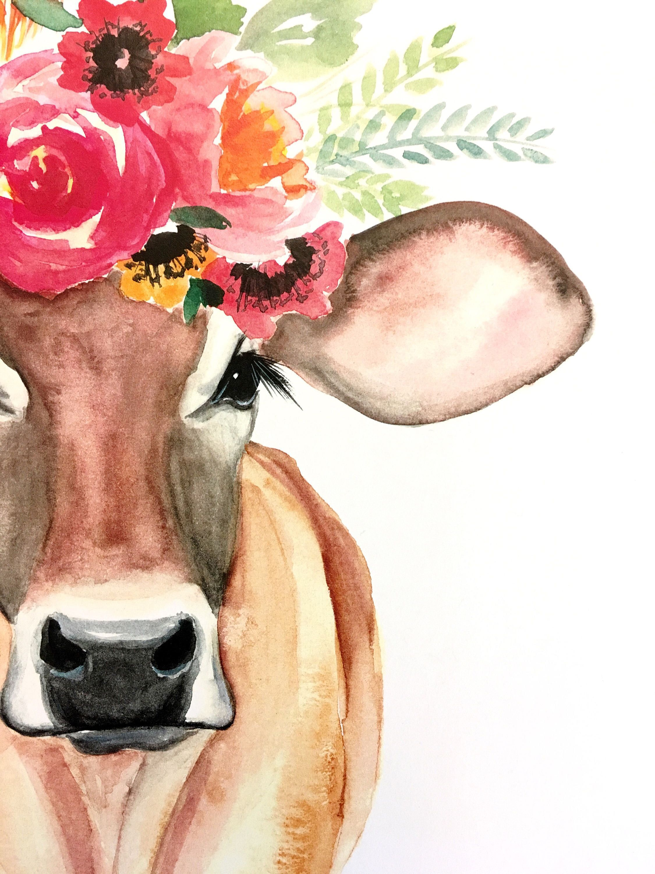 2250x3000 Watercolor Cow With Flower Crown Moo Art