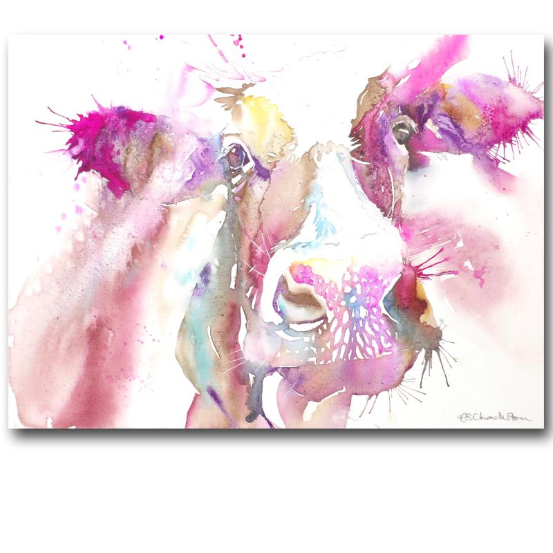 800x800 White Watercolor Painted Canvas Paintings Cow Oil Paintings Modern