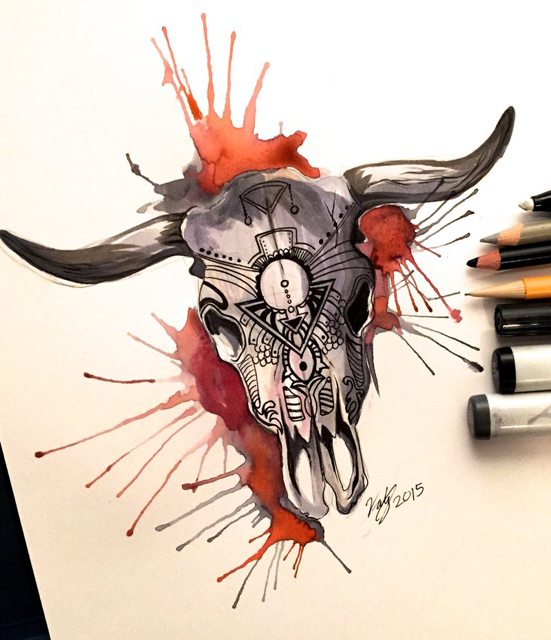 watercolor cow skull at getdrawings com free for personal use