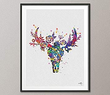 355x307 Bull Skull Watercolor Print Boho Chic Wall Art Floral