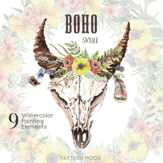 570x570 Boho Skull Watercolor Skulls With Horns And Flowers Cow Etsy