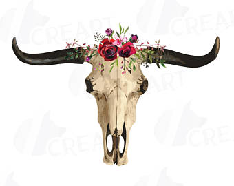 340x270 Bull Skull With Watercolor Berries And Pine Tree Clip Art