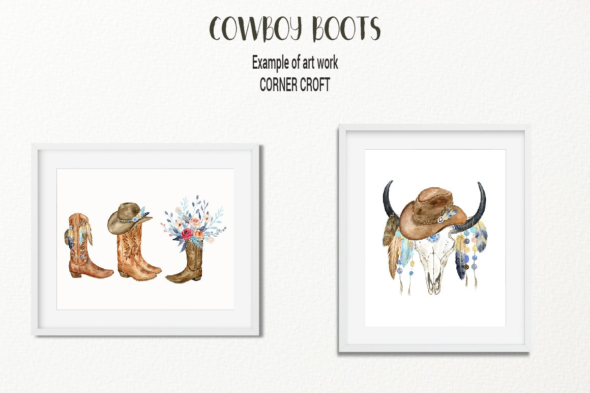 1160x772 Watercolor Cowboy Boots, Hats, Pistol And Boho Feathers, Beads