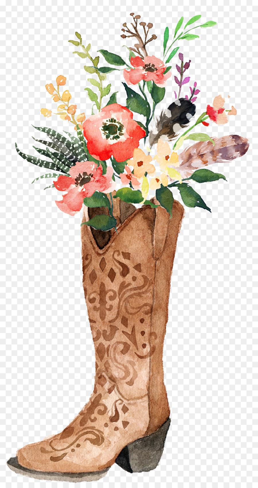 900x1700 Cowboy Boot Watercolor Painting Boho Chic
