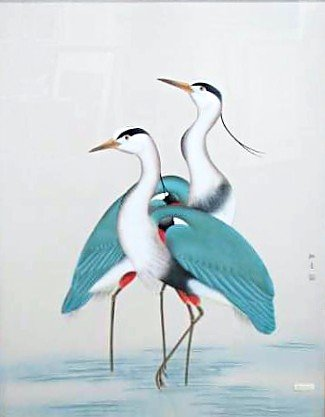 325x417 134 Two 20th Century Chinese Watercolor Crane Painting