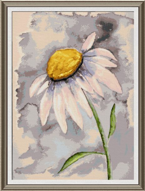463x609 Daisy Watercolor Cross Stitch Pattern Arts