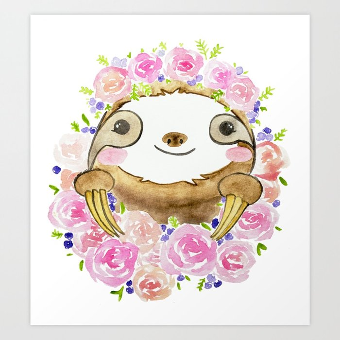 700x700 Happy Little Watercolor Sloth With Flower Crown Art Print By