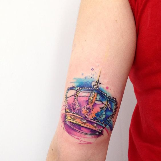 564x564 Picture Of Watercolor Arm Crown Tattoo