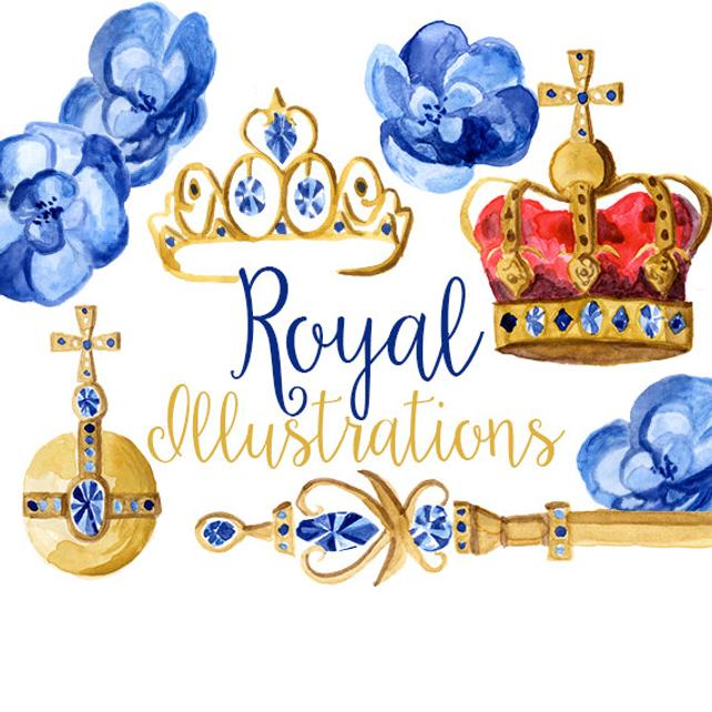 642x642 Royal Illustrations Watercolor Crowns Crown Clip Art Orb Etsy