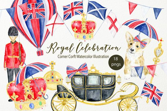 570x379 Royal Celebration Clip Art Watercolor Crown Orb And Sceptre Etsy