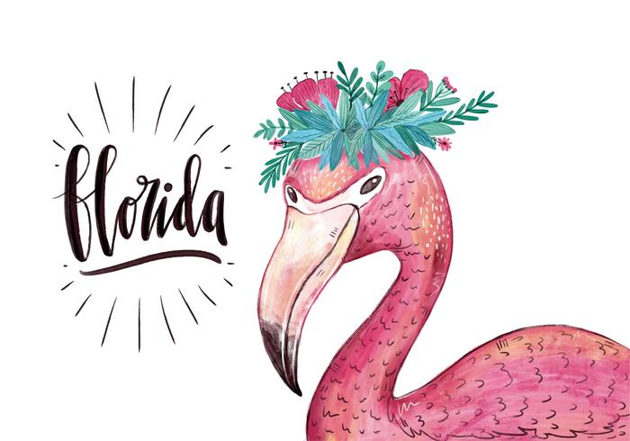 700x490 Vector Watercolor Flamingo Character With Flower Crown For Florida