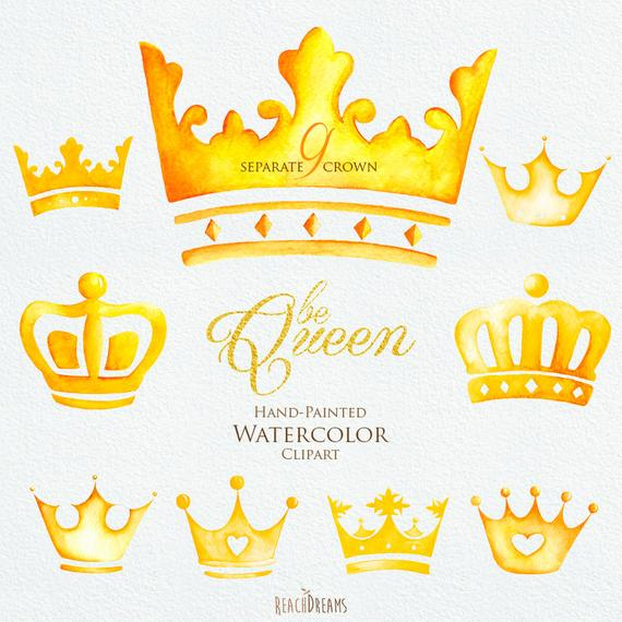 570x570 Watercolor Crown. Clipart Elements. Queen King Princess Golden Etsy