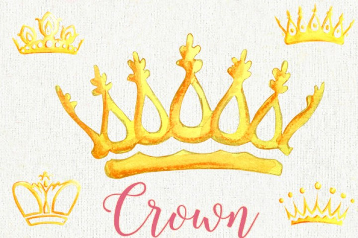 720x479 Watercolor Crown. Clipart Elements. Queen King Princess Golden
