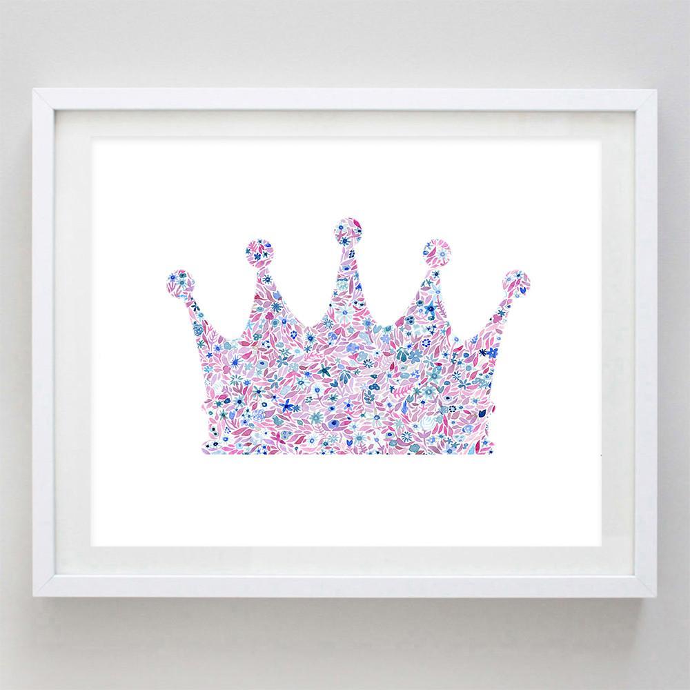 1000x1000 Crown Floral Watercolor Art Print