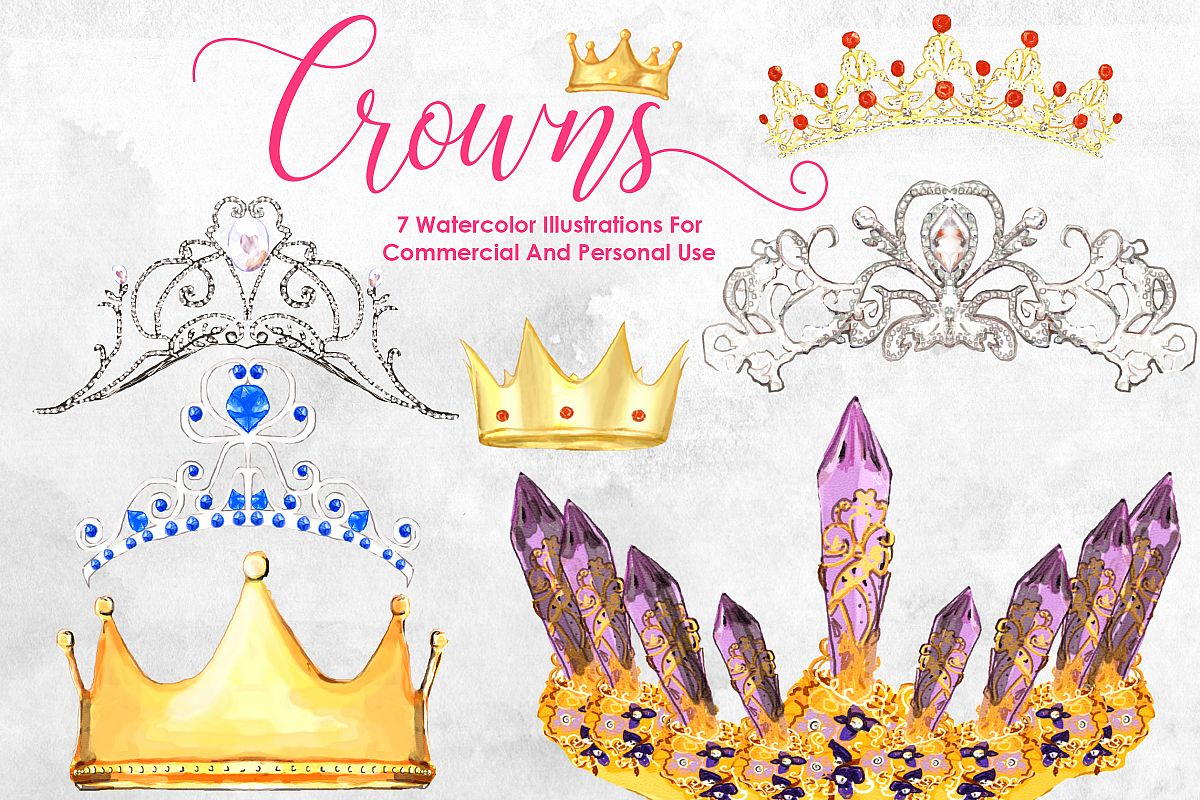 1200x800 Watercolor Crowns Bundle Queen Princess Design Bundles
