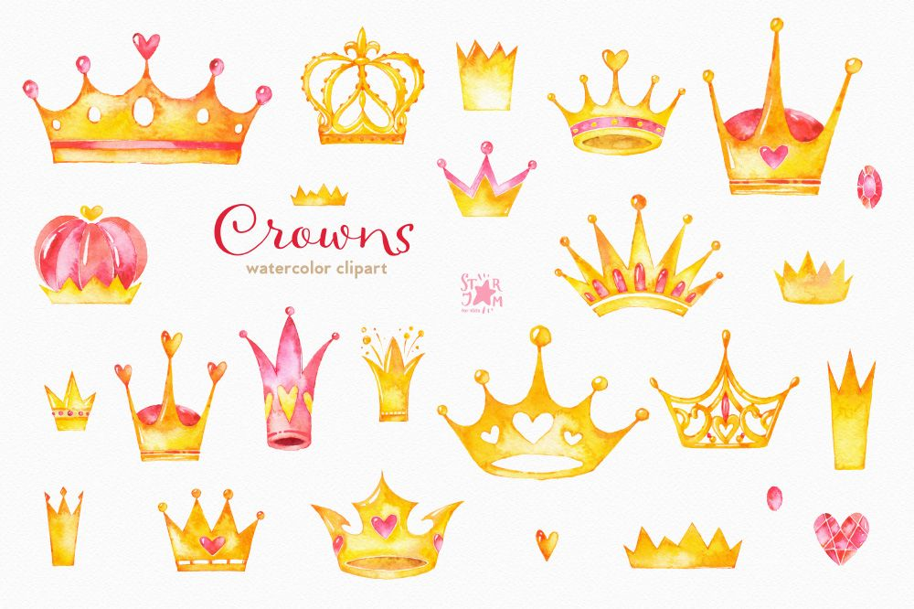 1000x666 Watercolor Crowns Clipart For Your Princess, Prince, Queen, King