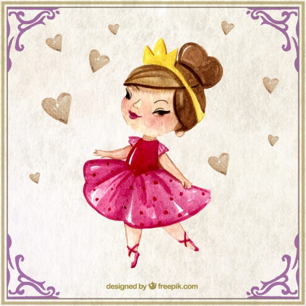 626x626 Watercolor Lovely Princess With A Crown Vector Premium Download