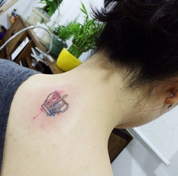 595x589 Watercolor Crown Tattoo 239