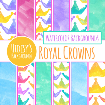 350x350 Crown Handpainted Watercolor Digital Papers Backgrounds By