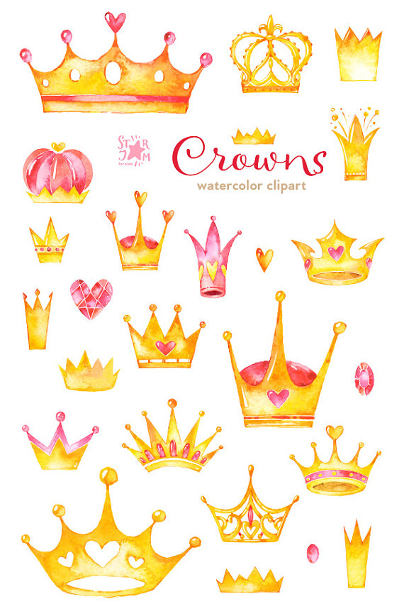 570x861 Crowns. Watercolor Clipart, Diadem, Gold, Queen, Greetings Card