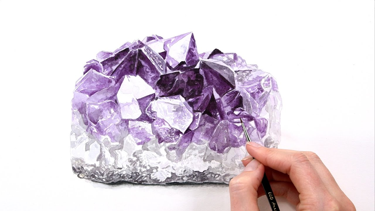 1280x720 How To Paint A Realistic Shiny Amethyst Crystal In Watercolour