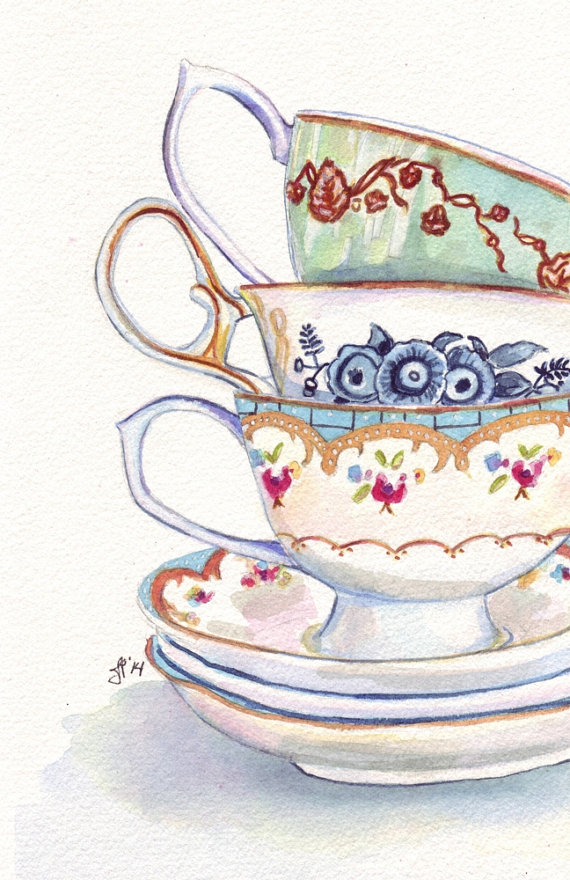 570x880 Teacups Still Life Watercolor Painting