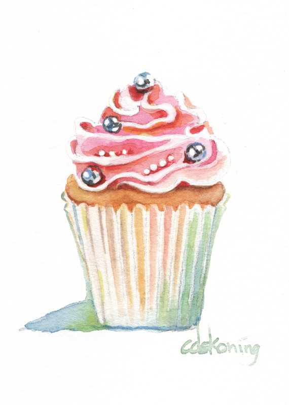 570x798 Pink Cupcake Original Aceo Watercolor Painting By Christydekoning