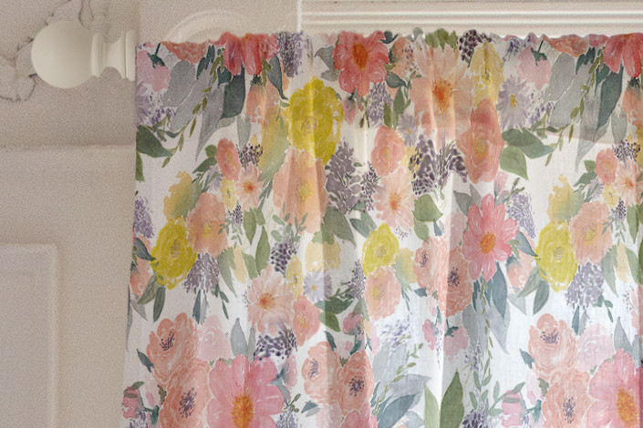 705x470 Bold Watercolor Floral Curtain By Qing Ji Minted