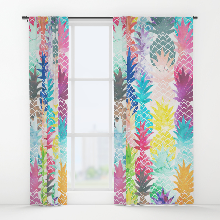 700x700 Hawaiian Pineapple Pattern Tropical Watercolor Window Curtains