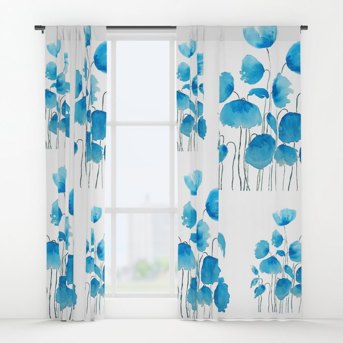 700x700 Blue Poppy Field Watercolor Window Curtains By Colorandcolor