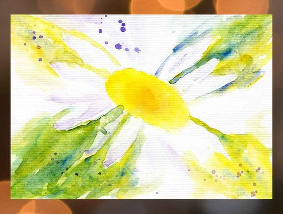 570x432 White Daisy Watercolor Painting Green Yellow Daisy Art