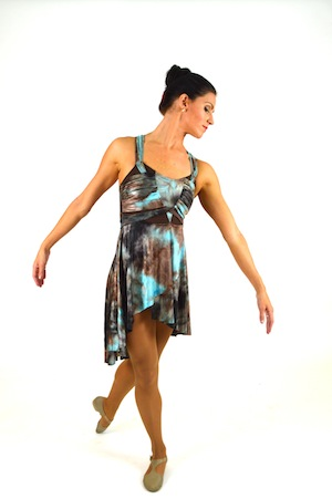 300x451 Brown And Teal Watercolor Dress The Costume Closet