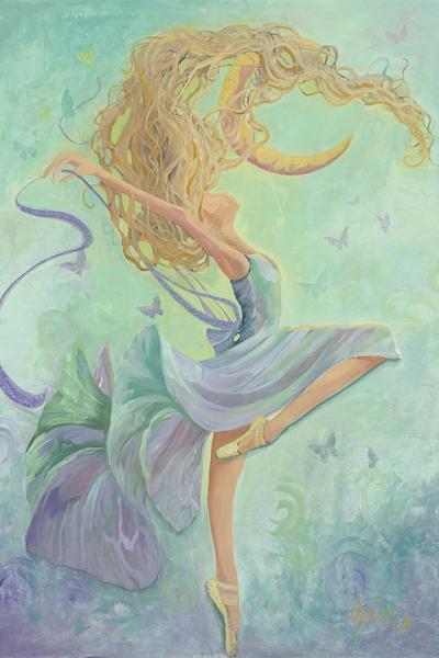 400x600 Watercolor Dancer Moon Bound Girl