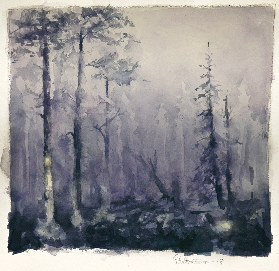 Watercolor Dark Forest