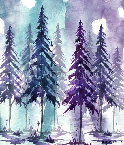 430x500 Watercolor Art Illustration. Drawing Of The Forest, Pine Tree