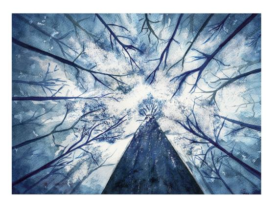 570x430 Forest Sky Painting Blue Forest Watercolor Tree Dark Woods Etsy
