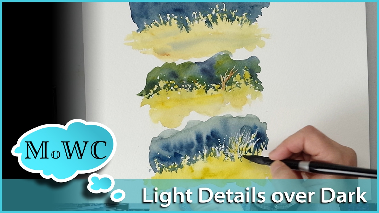 1280x720 Painting Light Foliage Over Dark Backgrounds In Watercolor