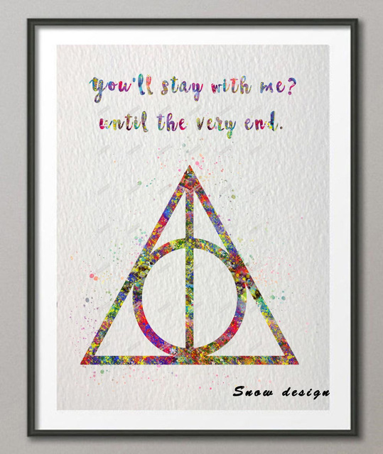 539x640 Original Watercolor Deathly Hallows Quote Poster Print Pictures