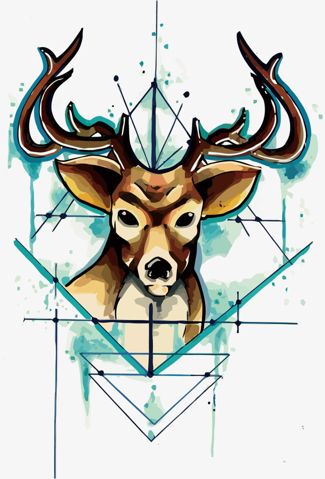 650x958 Vector Watercolor Deer Head, Watercolor, Geometry, Deer Png And