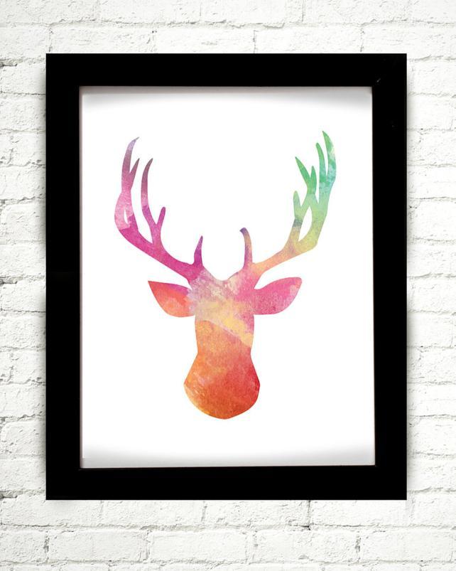 642x803 Watercolor Deer Print Deer Antler Deer Head Deer Print Etsy