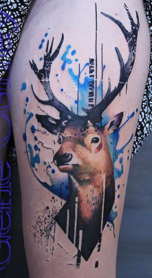 Watercolor Deer Tattoo at GetDrawings.com | Free for personal use ...