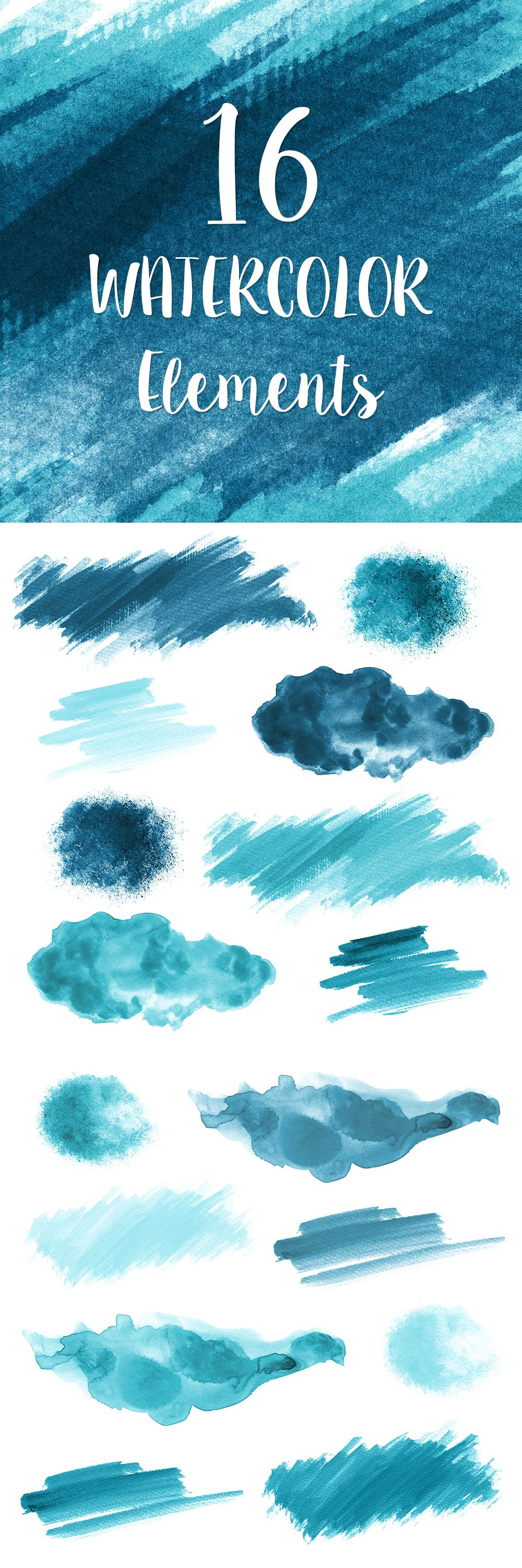 1000x3000 16 Blue Watercolor Splotches, Splatters And Brush Strokes Blue