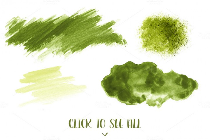 720x479 16 Green Watercolor Design Elements By Design By Nube