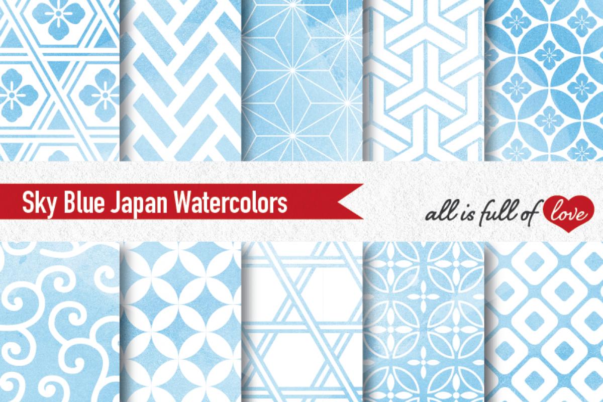 1200x800 Blue Watercolor Digital Paper Japan Background Patterns Soft Blue