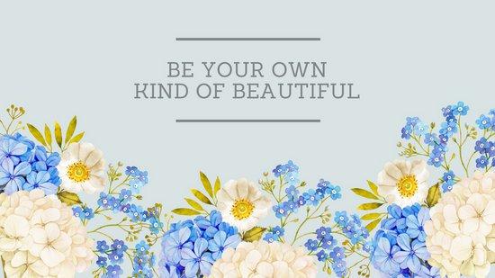 550x309 Blue Watercolor Flowers With Quote Desktop Wallpaper