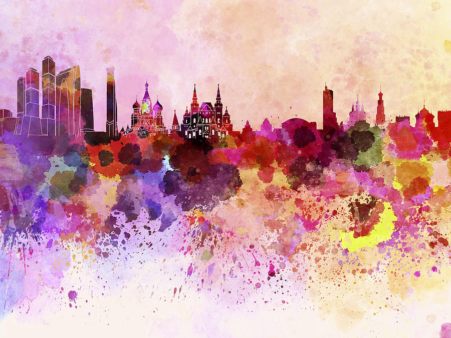900x675 Moscow Skyline In Watercolor Background Digital Art By Pablo Romero