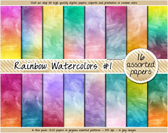 570x453 Sale Watercolor Digital Paper Rainbow Gradient Digital Paper Etsy