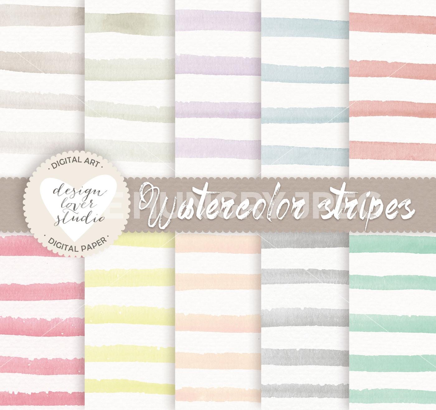 1400x1319 Watercolour Stripes Digital Papers, Watercolor Digital Paper